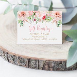 Printable Gift Registry Card- Pink Floral