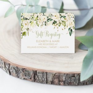 Printable Gift Registry Card- White Floral