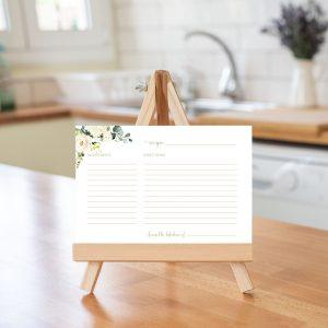 Printable White Floral Recipe Card