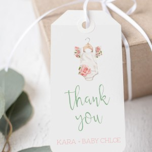 Printable Thank You Tags- Floral Onesie