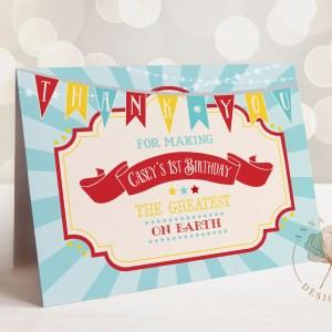 Printable Dark Red Circus/Carnival Thank You Card- Blue Sunburst