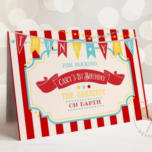 Printable Dark Red Circus/Carnival Thank You Card- Red Stripes