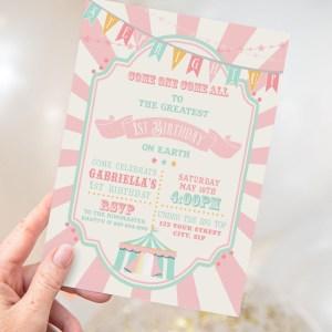 Printable Pink & Mint Circus/Carnival Invitation
