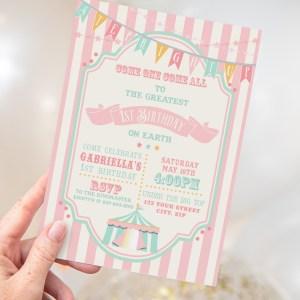 Printable Pink & Mint Circus/Carnival Invitation- Pink Stripes