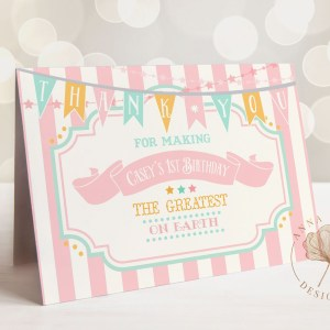 Printable Pink & Mint Circus/Carnival Thank You Card- Pink Stripes