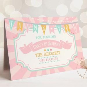 Printable Pink & Mint Circus/Carnival Thank You Card- Pink Sunburst