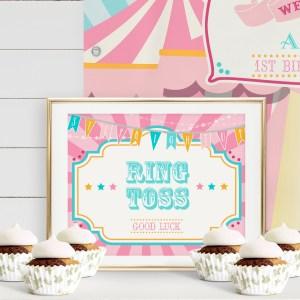 Printable Pink & Teal Circus/Carnival Game Sign- Pink Sunburst