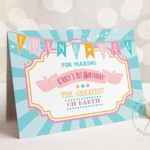 Printable Pink & Teal Circus/Carnival Thank You Card- Blue Sunburst