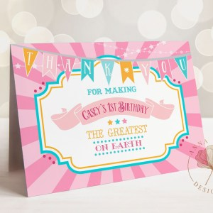 Printable Pink & Teal Circus/Carnival Thank You Card- Pink Sunburst