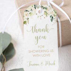 Printable Thank You Tags- White Floral