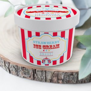 Printable Bright Red Circus/Carnival Ice Cream or Treat Tub Labels- Red Stripes