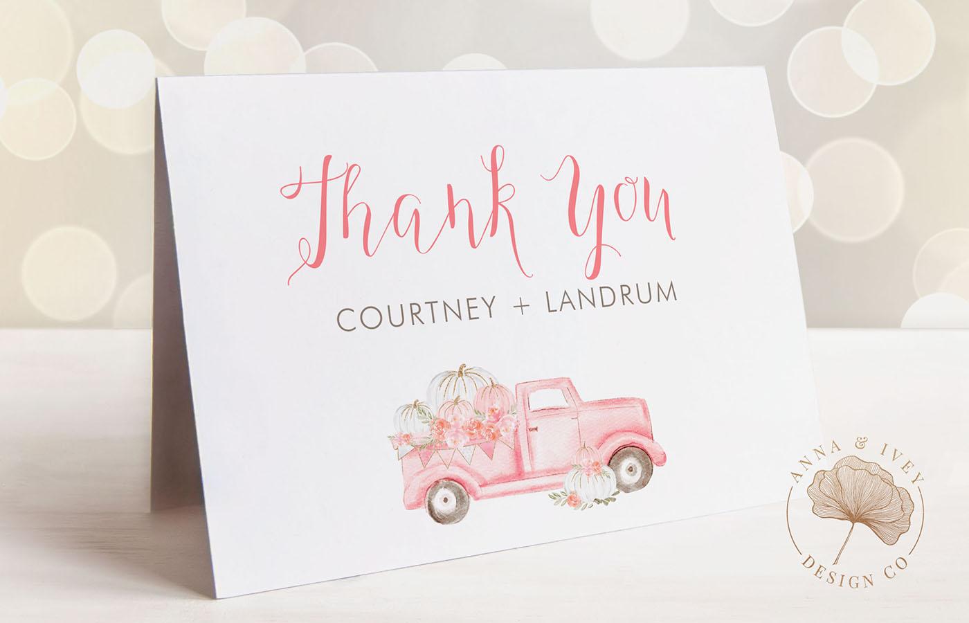 Pink Pumpkin Truck Thank You Card Display