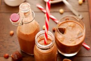 Chocolate Hazelnut Milk with Creamy Coconut Ice Cubes