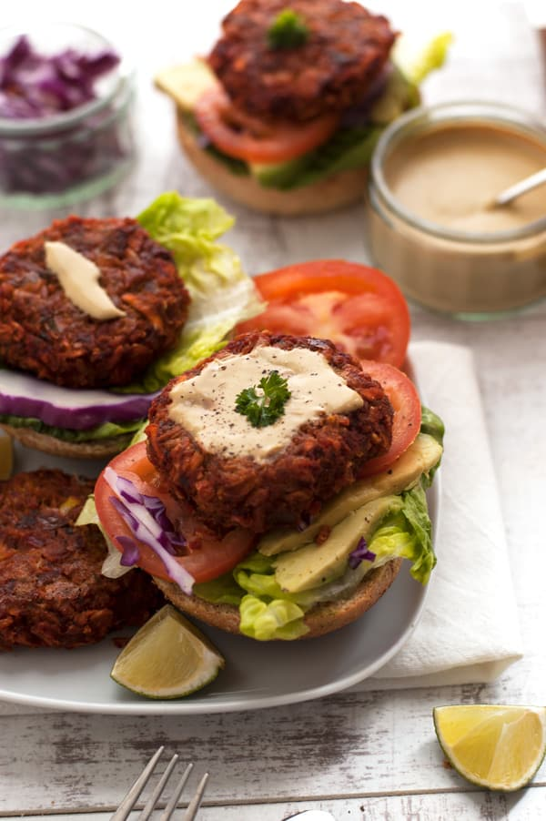Vegegie-Burger-with-Mustrard-Dressing