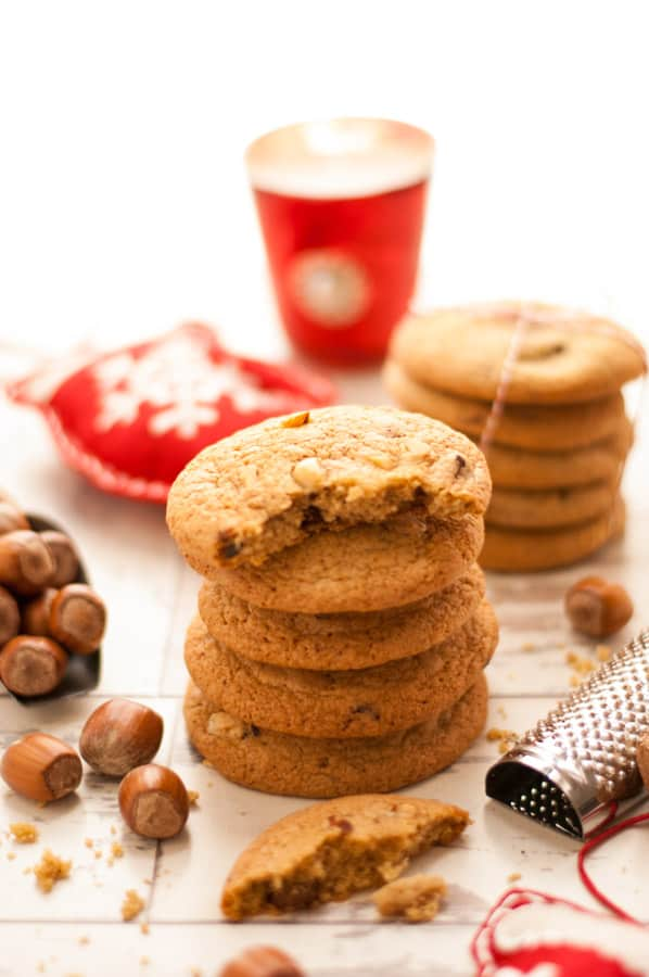 Nutmeg Cookies with Chocolate and Hazelnuts
