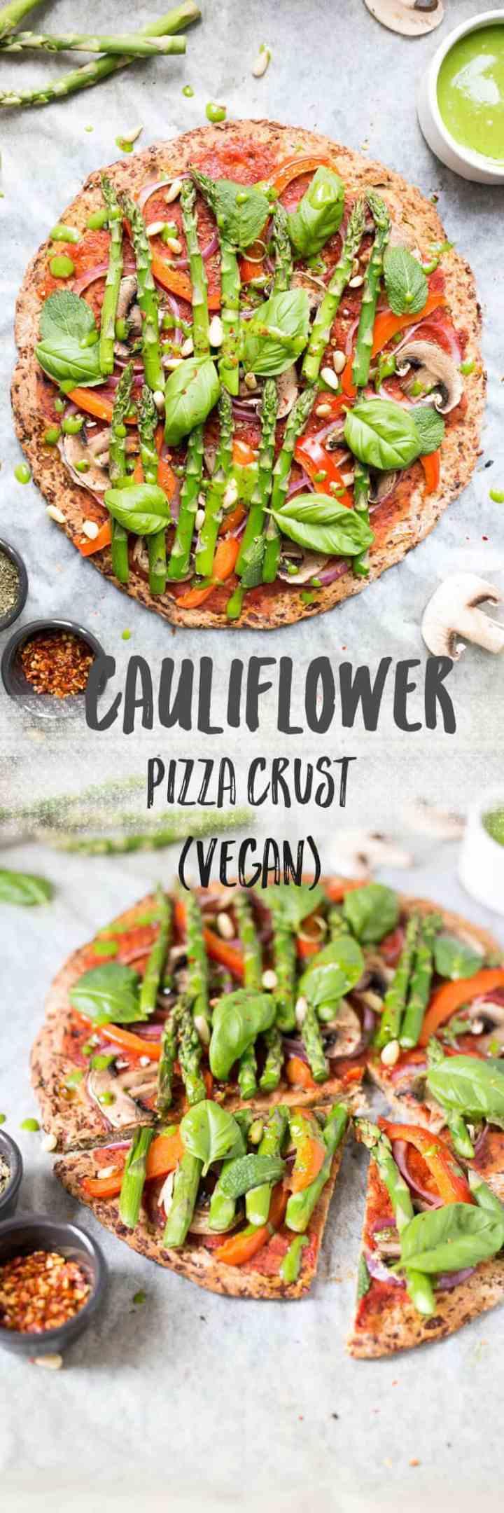 Easy cauliflower pizza crust with spinach dressing | via @annabanana.co