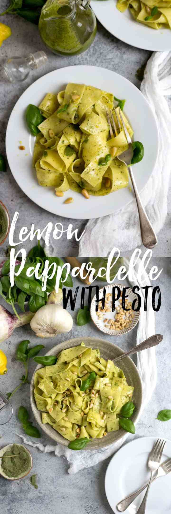 Fresh lemon pappardelle with basil and kale pesto. Ready in 15 minutes! | via @annabanana.co