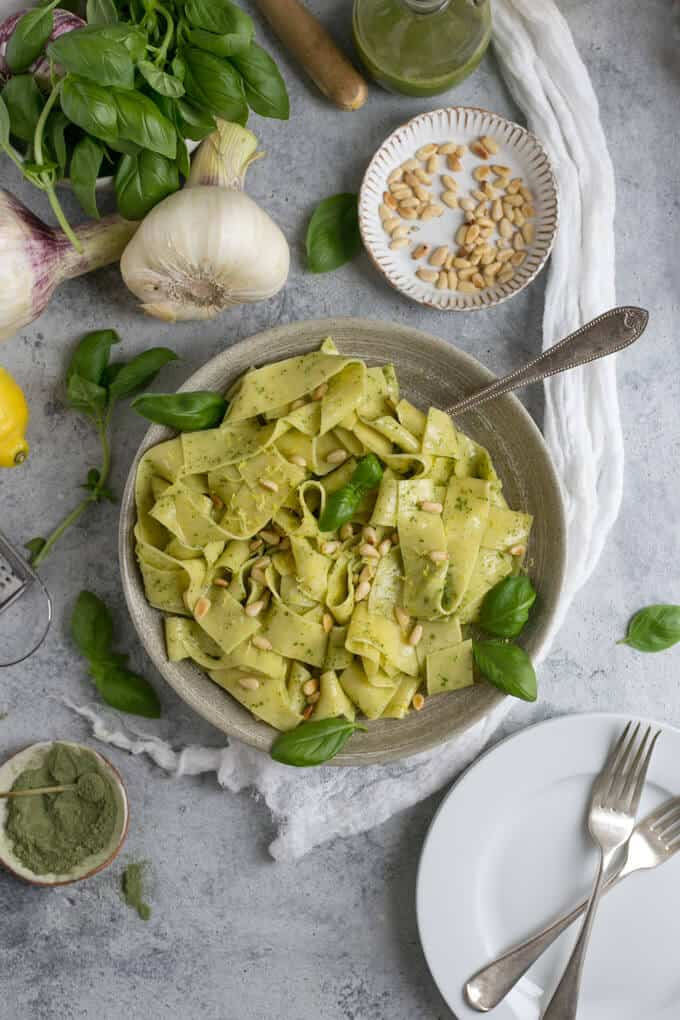 Lemon pappardelle with basil and kale pesto and pine nuts | via @annabanana.co
