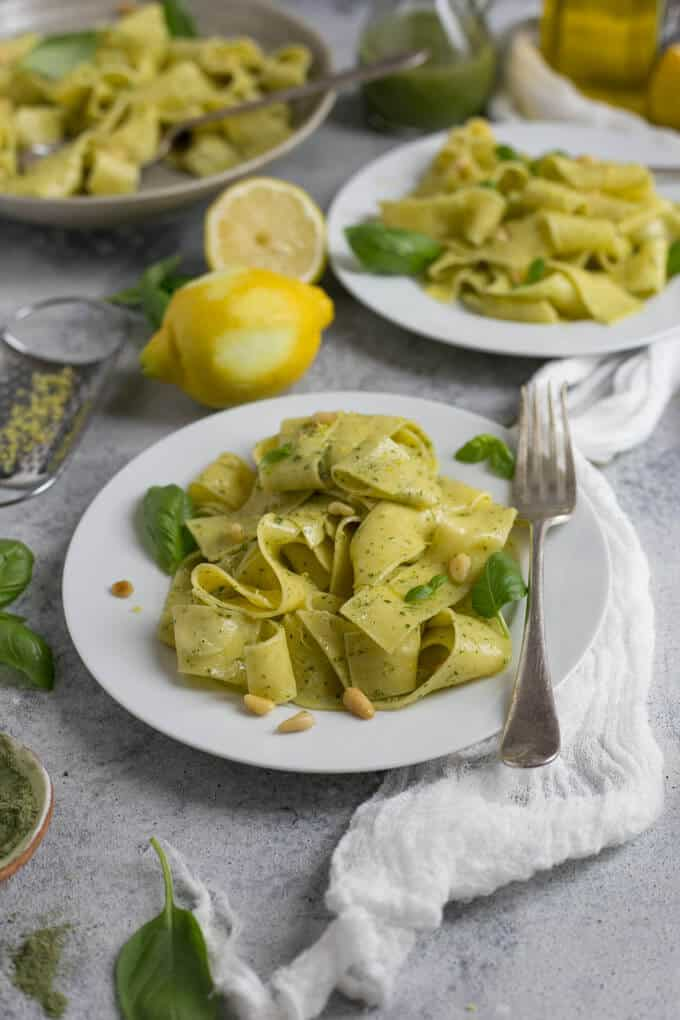 Fresh pappardelle with lemon, pesto and pine nuts | via @annabanana.co