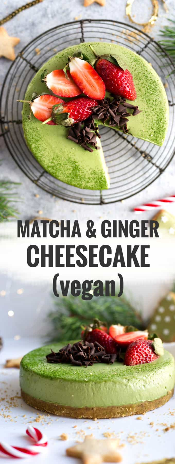 Delicious matcha cheesecake with ginger flavoured base. Velvety smooth and creamy cake, 100% vegan! #cheesecake #matcha #vegan #dairyfree