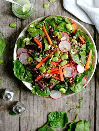 Fresh, super clean spinach and beetroot salad with dressing #veganrecipe #salad #healthyrecipe | via @annabanana.co