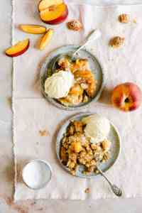 top view of peach cobbler with ice cream