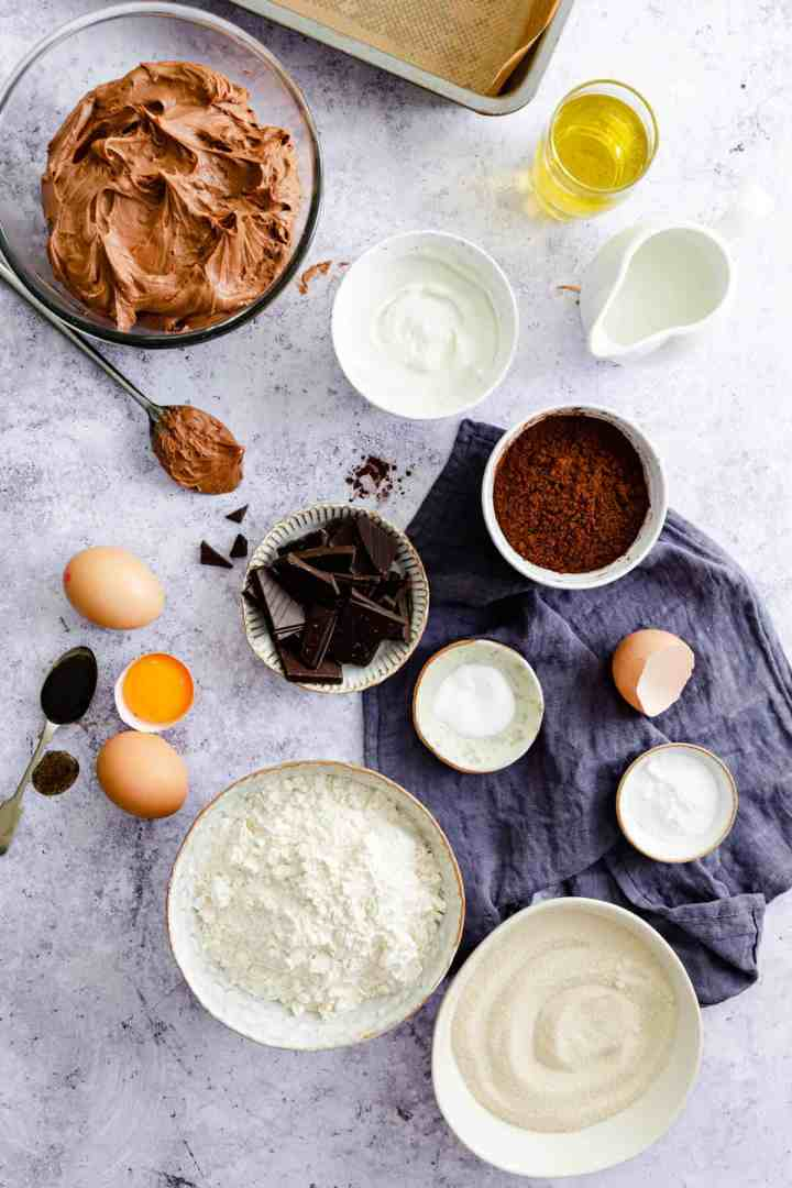 top view of different ingredients for dark chocolate traybake