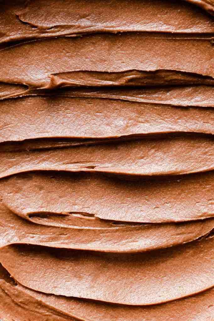 super close up of chocolate buttercream
