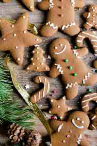 close up overhead shot of festive gingerbread cookies