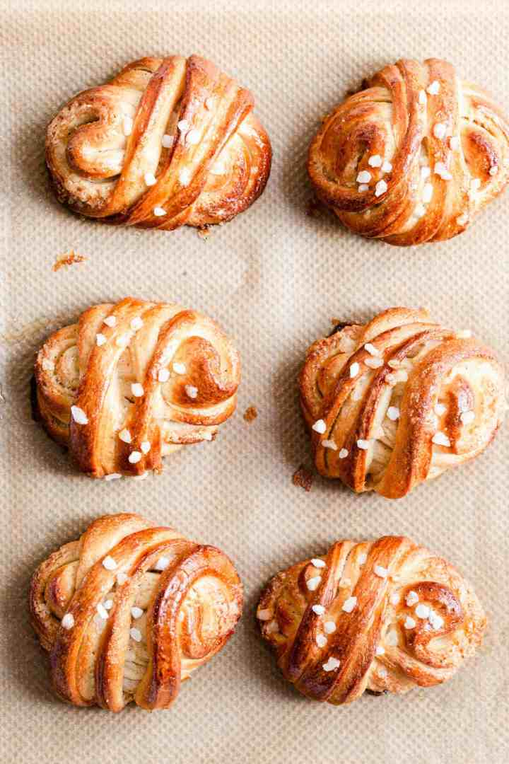 top view of freshly baked Swedish cardamom buns