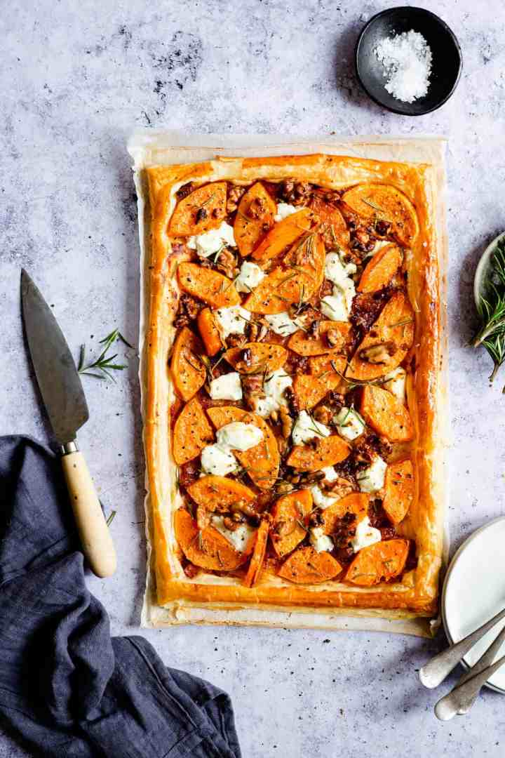 overhead shot of puff pastry tart with butternut squash