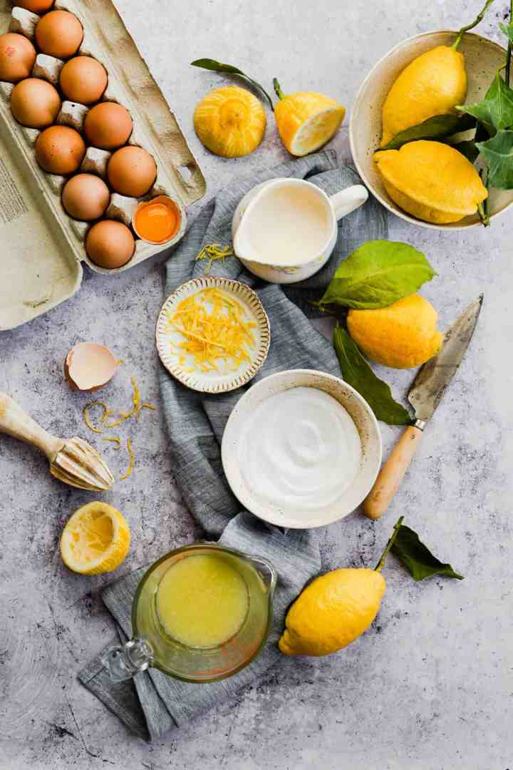 top view of the ingredients for the filling of lemon pie