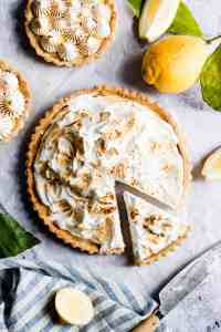 close up overhead shot of lemon pie with toasted meringue