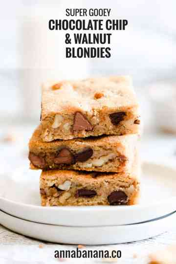 super close up side angle of blondie slices on top of each other with text overlay