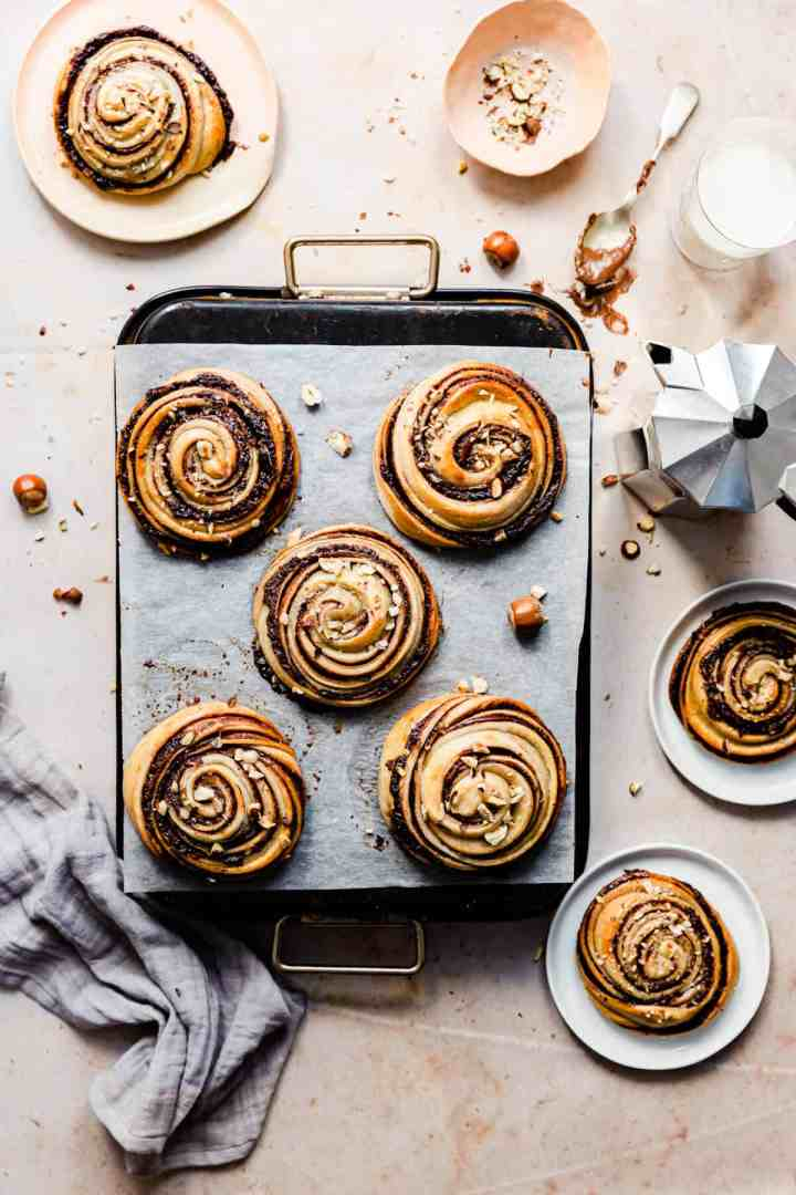 top view of freshly baked hazelnut buns