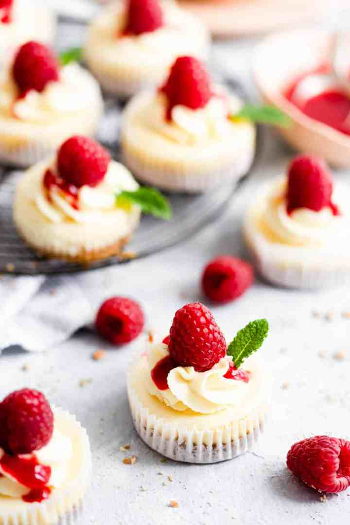 side shot of mini cheesecakes topped with whipped cream