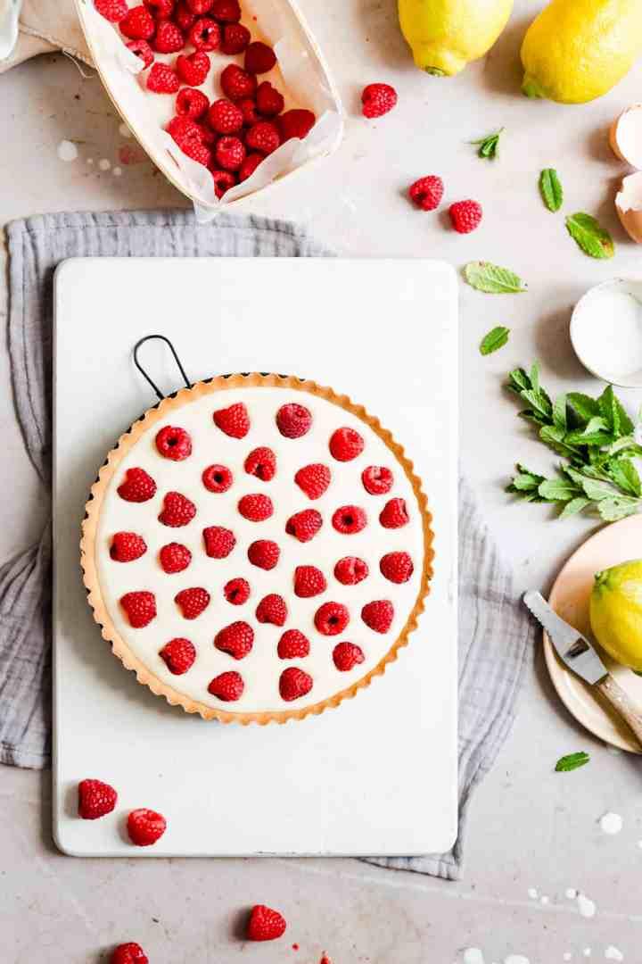 overhead view on raspberry mascarpone tart