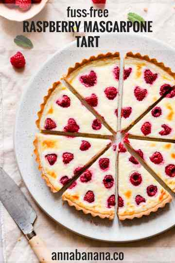 top view close up of slices of berry tart on a plate with text overlay