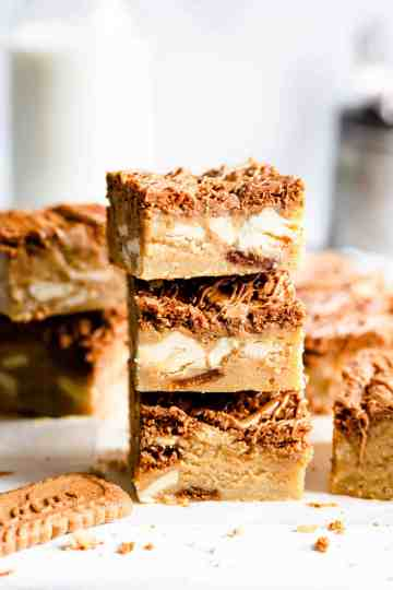 side close up of 3 blondie bars stacked on top of each other