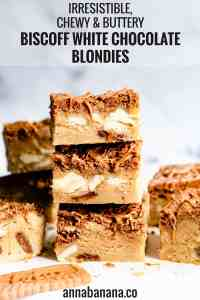 straight ahead close up angle of 3 biscoff blondie bars stacked on top of each other with text overlay