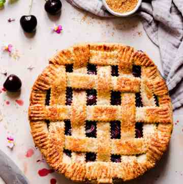 top view of homemade pie with lattice pattern on top
