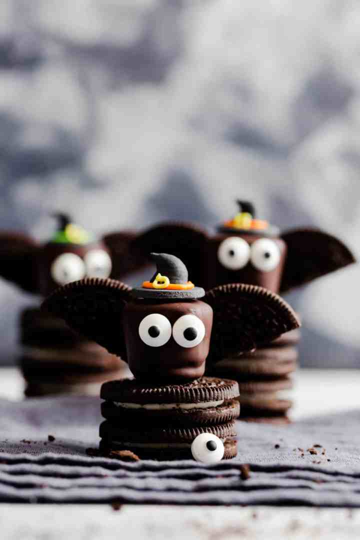 super close up at chocolate bat wearing a witches hat, standing on Oreo cookies