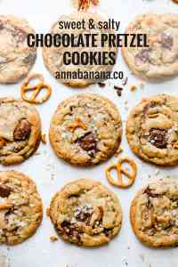 top view close up at cookies with melting chocolate chunks and bits of pretzel with text overlay