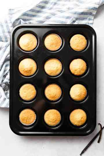 overhead shot of 12 vanilla cupcakes in cupcake baking tray