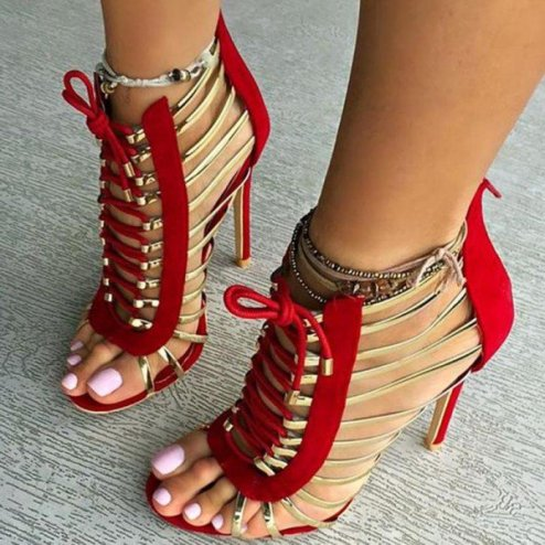 red_and_gold_gladiator_sandals_open_toe_lace_up_heels