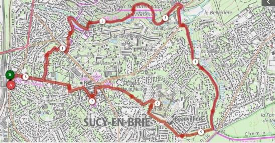 Map of walk around Sucy en Brie
