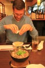 Dinner in Kyoto - luckily it came with instructions on what to do with the (whole) raw egg