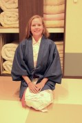Anna in Japanese style robes at our accommodation in Hakone (Gora)