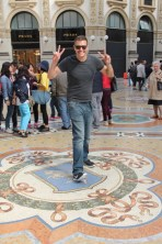 Ben turning for good luck in the Galleria Vittorio Emanuele II in Milan