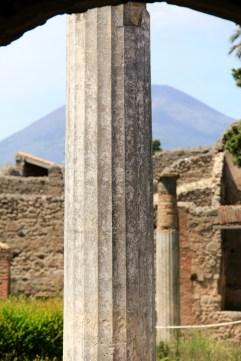 View of Mt Vesuvius in Pompeii